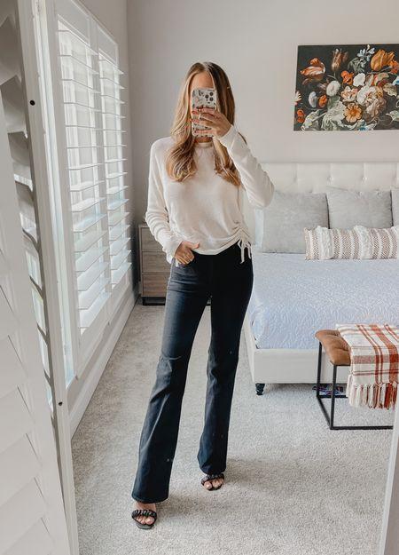 Work wear  Black flare jeans  White sweater   #LTKSale #LTKHoliday #LTKGiftGuide