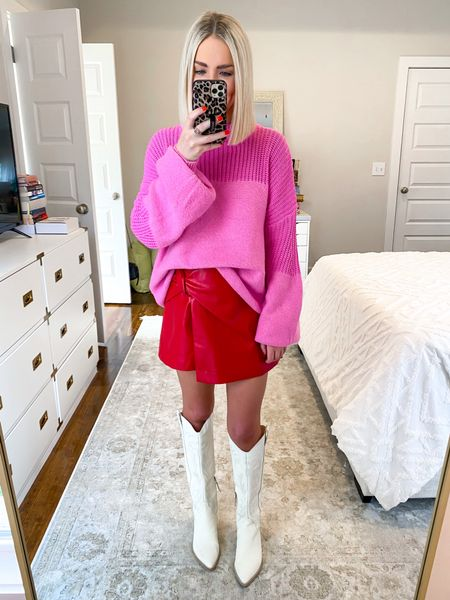 Color block, pink and red color block, holiday outfit, red and pink outfit! Size SM in both 10% off with KELSIE10   #LTKHoliday #LTKSeasonal #LTKunder50