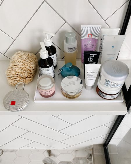 Bathroom decor and shower organization with this slim tray to corral all my beauty products. Keeps my shampoo, body wash, face cleansers, scrubs and more in place.  #LTKstyletip #LTKunder50 #LTKbeauty