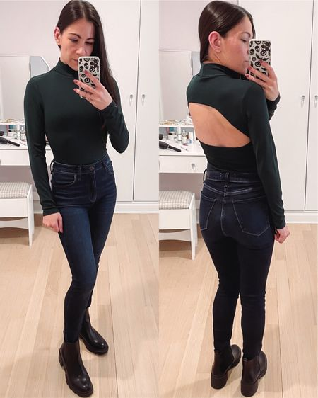A long sleeve option: this mock neck bodysuit is a pretty deep green color and has a sexy opening in the back. Can't wait to style this as part of a holiday outfit!   #LTKSeasonal #LTKHoliday #LTKunder50