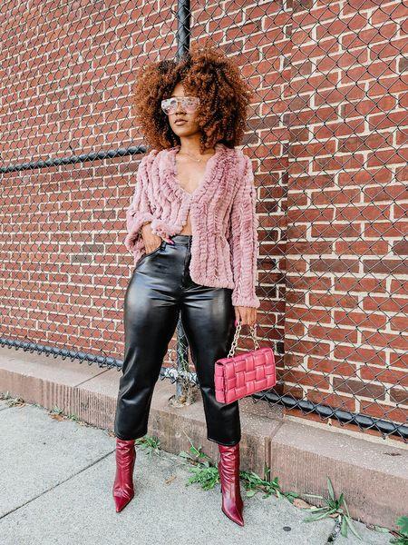 Fall is here! Jacket  fur jacket  vegan leather pants  straight leg pant  faux leather pants  chain bag  booties  #LTKunder100 #LTKcurves #LTKstyletip