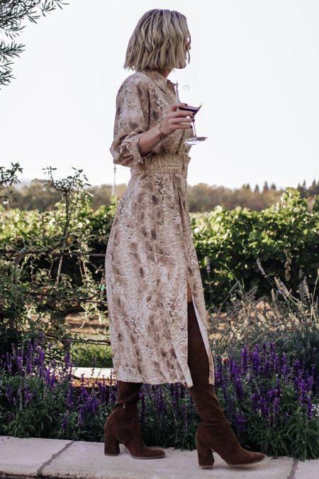 Midi dress, asos, belted dress, tall brown boots   #LTKshoecrush #LTKstyletip #LTKunder100