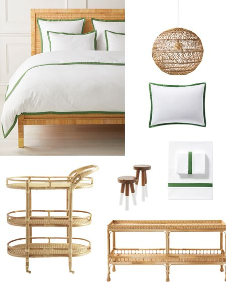 Serena & Lily tent sale faves including a rattan bench & bar cart, dip dye stools and green and white bedding http://liketk.it/3jjuM #liketkit @liketoknow.it