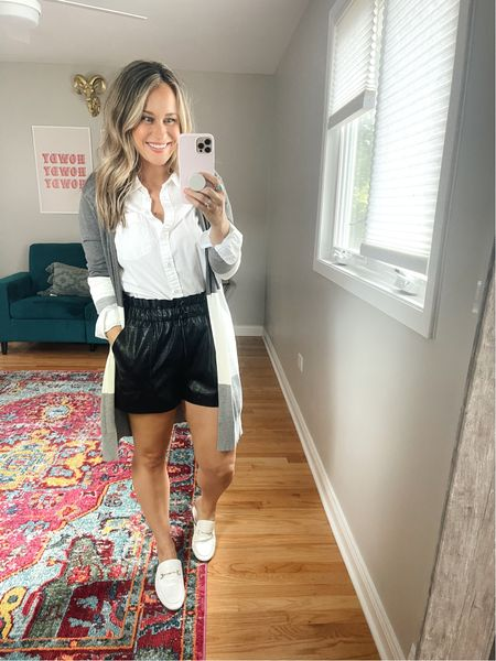 Amazon finds! These faux leather shorts, long cardigan and white mules are all amazon fashion finds! Also linked this white button down, it's the perfect shirt for the office!  #LTKunder50 #LTKshoecrush #LTKworkwear