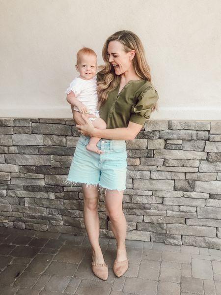 Olive green is my favorite shade for fall 💚 Puff sleeve top, momjean denim shorts & suede mules + my mini (linked her top) #momstyle #mamaandme #denimshorts  #LTKfamily #LTKshoecrush #LTKunder50