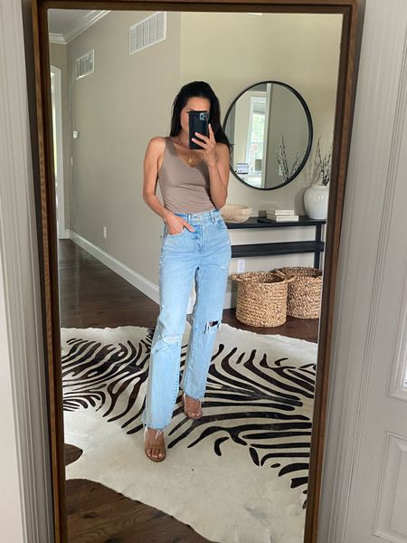 Love this bodysuit from Express! And I've been living in these lightweight jeans this summer. 🙌🏼 #express #denim #summer   Wearing size Xs in bodysuit and 2S in denim.   #LTKfit #LTKunder100 #LTKunder50