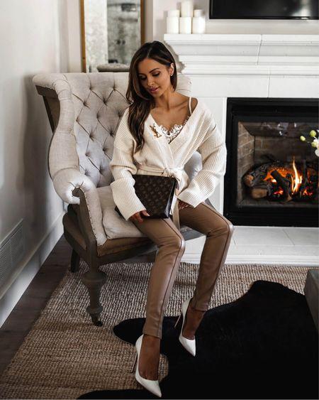 Fall date night outfit  Tularosa wrap cardigan  Kyria Lace Bralette  Tan faux leather pants  #datenight  #LTKunder100 #LTKstyletip #LTKSeasonal