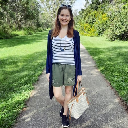 Layering up a shorts and tee outfit with a cosy navy waterfall cardigan for a cooler autumn morning. Quickly ended up taking the cardigan off and stuffing it in my Louis Vuitton damier azur neverfull tote bag though when it warmed up! I love this Cotton On stripe tee with the olive pull on embroidered shorts. Stripes go so well with these shorts! And the black New Balance sneakers were good for walking around the trail at our local park 💚   ----------------  ---------------  ------------------- ---------------------  Screenshot this pic to shop the product details from the @liketoknow.it app, or click here: http://liketk.it/3fEoA #liketkit #everythingLooksBetterWithABag #realeverydaystylepic #wearedonthestreet