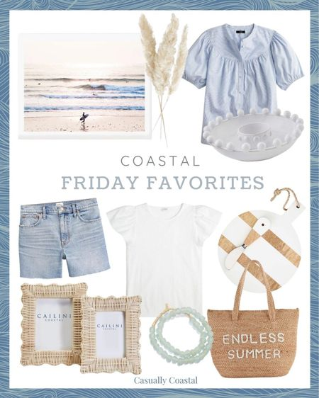 """This week's Friday Favorites! How cute is this Endless summer cooler tote?! - Hostess gifts, summer decor, summer decorations, summer home decorations, coastal decor, beach house decor, beach decor, beachy decor, beach style, coastal home, coastal home decor, coastal interiors, coastal family room, living room decor, coastal decorating, coastal house decor, home accessories decor, coastal accessories, living room decor, neutral decor, neutral home, blue and white home, blue and white decor, summer accessories, entryway table decor, gifts gifts for her, coastal living room decor, coastal family room, wall decor living room, artwork for home, coastal art, coastal artwork, beach art, beach artwork, wall art large, wall decor living room, artwork for home, large artwork, Pampas stems, stems for vase, faux pampas grass, megan molten decor, J.Crew tops, puff sleeve tops, blue and white tops, blue and white striped tops, poplin popover top, tops for work, short sleeve blouses, short sleeve tops, flutter sleeve tops, white t-shirts, J.Crew Factory, casual summer outfits, casual beach outfits, distressed jean shorts, distressed cut off shorts, distressed cutoffs, 4"""" cutoff, 4"""" denim short, high rise denim shorts, high rise jean shorts, high rise cutoffs, J.Crew shorts, Mud pie, chip & dip, White serving board, serving boards wood, wood serving boards decor, coastal kitchen decor, summer entertaining, kitchen entertaining, outdoor entertaining, woven frames, wicker frames, woven photo frames, woven picture frames, picture frame set, 4x6 picture frames, 5x7 picture frames, photo frame sets, photo frames, picture frames, woven bookshelf decor, sentimental gifts, decorative beads, bead strand decor, beads decor, seaglass beads, blue decorative beads, coffee table decor, seafoam, cooler tote, cooler tote bag, tote bag cooler, endless summer bag, beach essentials, beach house essentials  #LTKunder100 #LTKswim #LTKhome"""