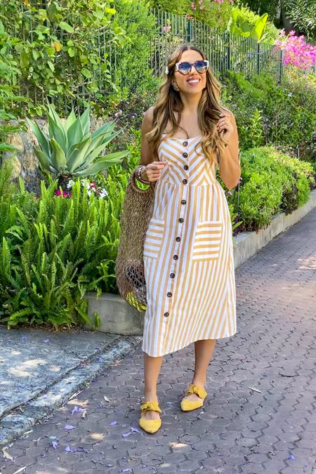 Time to shine with this yellow striped dress! 🌼🌻✨ I am wearing Balmain Paris Sunglasses, Mango purse and yellow suede shoes, completing my look with romantic pearl accessories.  .....  Follow me on the LIKEtoKNOW.it shopping app to get the product details for this look and others http://liketk.it/2VndU   @liketoknow.it @liketoknow.it.europe  .....  #liketkit #LTKeurope #LTKstyletip #LTKshoecrush #LTKspring #LTKtravel #Fashionista