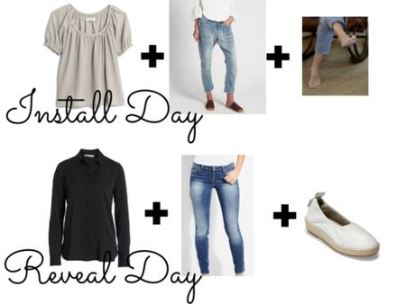 """The rest of my outfits from Best House on the Block's """"Revived Colonial Revival"""" Episode- install day & reveal day. {the lavender peasant top & ivory leather espadrilles aren't the exact ones I was wearing but are close matches}. Both pairs of jeans are staples in my wardrobe & though it's a splurge, I wear that black silk shirt a ton and have had it for years & still love it. 🖤 http://liketk.it/2BTN1 #liketkit @liketoknow.it"""