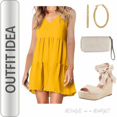 Yellow sleeveless sundress, nude lace wedge, gold earrings. Cute vacation look!  http://liketk.it/3fmhu #liketkit @liketoknow.it #LTKunder50 #LTKtravel #LTKstyletip