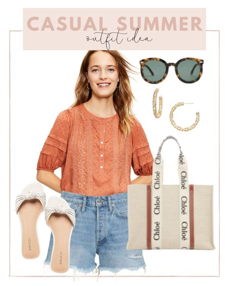 Casual summer look ☀️ pair my favorites golden shorts with this peasant top and knot sandals.   #LTKunder100 #LTKshoecrush