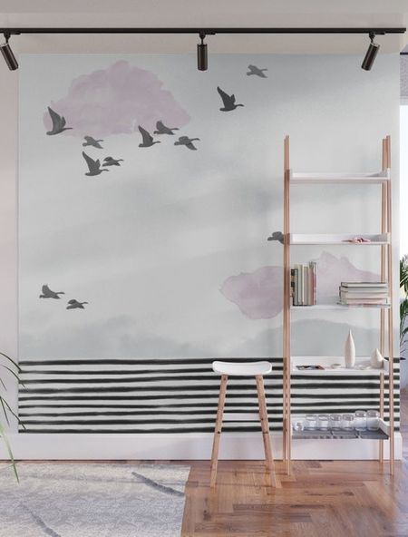I designed this bird wall mural, covered it in clear dry erase paint, and use it to write myself notes and brainstorm! #organization  #LTKhome