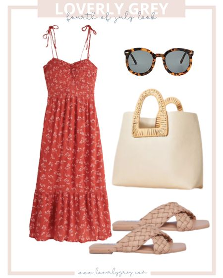 Loverly grey Fourth of July look 🇺🇸 pair a red dress with woven sandals!   #LTKstyletip #LTKSeasonal #LTKunder50