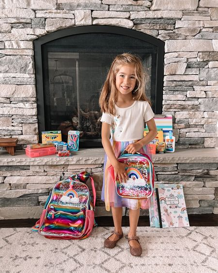 This rainbow unicorn loving girl is starting kindergarten in Sept but she's ready to go now 💗 @walmart had everything on her list plus a rainbow backpack she never wants to take off 🤣 #backtoschool   #LTKunder50 #LTKfamily #LTKkids
