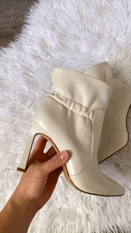 "Prettiest off white booties for fall! Use code ""fall25"" to get 25% off! - vibce Camuto, booties, fall boots, fall style, fall fashion, boots  #LTKSeasonal #LTKHoliday #LTKshoecrush"