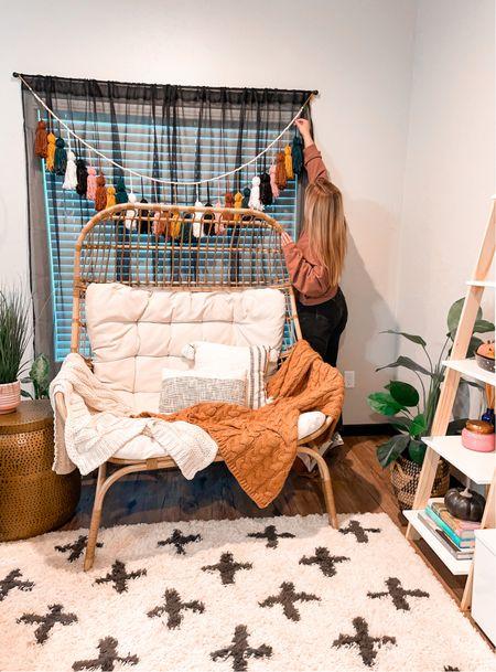 Fall living room decor DIY Egg chair Knit throw blankets Target decor Cropped sweatshirt   #LTKhome #LTKSeasonal #LTKunder50