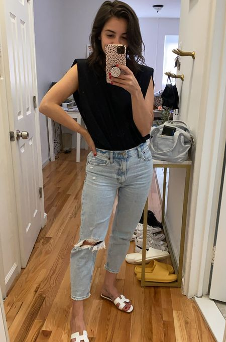Muscle tank Ripped jeans Mom jeans Straight leg jeans Hermès  Casual outfit Transitional outfit  #LTKstyletip #LTKbacktoschool #LTKunder50