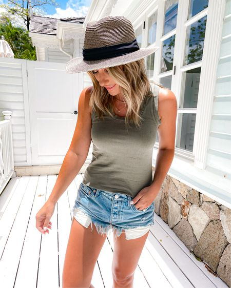 Vacation summer outfit. Green Free people tank size xs. Denim shorts size 25.    http://liketk.it/3fl1L @liketoknow.it #liketkit #LTKsalealert #LTKunder50 #LTKunder100 #laurabeverlin
