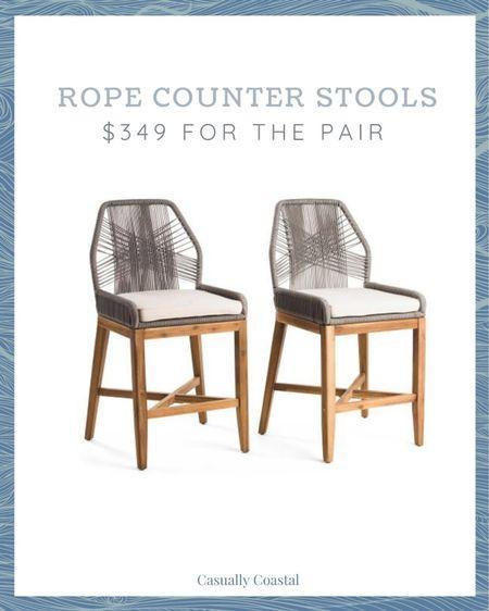 Run, don't walk! I expect these grey rope counter stools to sell out tonight!  @liketoknow.it @liketoknow.it.home #liketkit #LTKhome #LTKfamily #LTKstyletip http://liketk.it/3jzkm  coastal decor, beach house decor, beach decor, beach style, coastal home, coastal home decor, coastal decorating, coastal house decor, blue and white home, blue and white decor, counter stools with back, counter stool woven, rattan counter stool, serena and lily counter stools, serena & lily counter stools, woven counter stools, TJ Maxx finds, TJ Maxx home, rope counter stools, grey counter stools, marshalls home