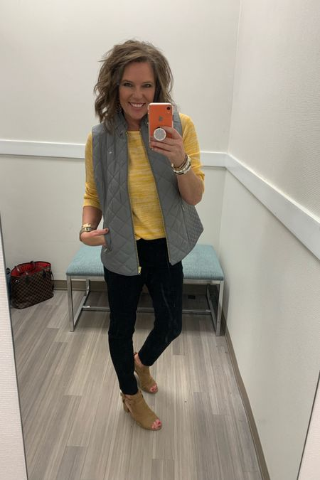 Layering up for Fall is super easy with this gorgeous Crown & Ivy quilted vest!! Gray and mustard is so cute together!! http://liketk.it/2Fpzs @liketoknow.it  . . . Shop your screenshot of this pic with the LIKEtoKNOW.it shopping app #liketkit #LTKworkwear #LTKunder50 #LTKstyletip #LTKshoecrush #LTKsalealert #LTKtravel #LTKunder100