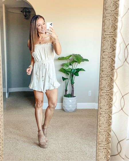 """Pink Lily romper & clear wedges perfect for all occasions. Wearing an small. I'm 5'1"""" and it's a perfect fit!  Wedges run tts. Save 15% code JUNE15  •summer style • summer outfit • summer fashion • amazon fashion • easy outfit • comfy style • casual • everyday outfit• outfit ideas • mom style • petite  • affordable outfit    #LTKsalealert #LTKunder50 #LTKstyletip"""