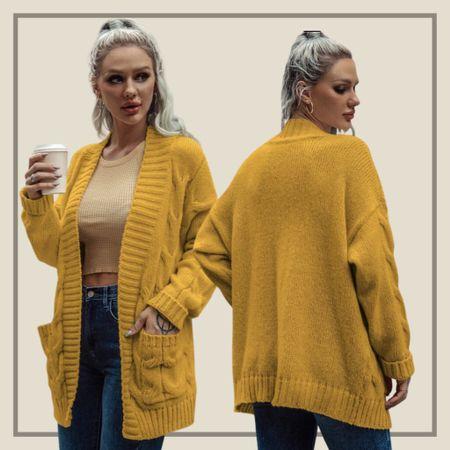 Cable knit pocket front cardigan sweater   #LTKunder50 #LTKstyletip