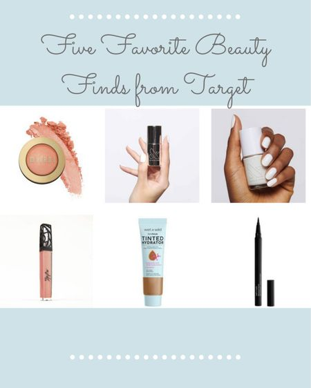 Five (plus a bonus!) favorites beauty finds that you can get at Target! Milani Luminoso blush, Olive and June nail Polish and top coat, The Lip Bar vegan lip gloss, Wet and Wild Tinted Hydrator, Wet and Wild Breakup Proof Liquid Eyeliner.    #LTKSeasonal #LTKbeauty #LTKunder50