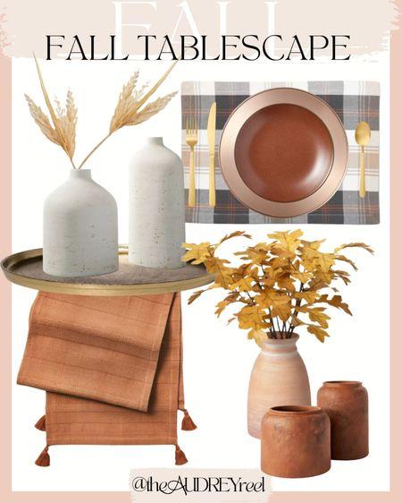 Fall Tablescape Dining Table Decorations Thanksgiving Halloween autumn decor plaid vases  #LTKhome #LTKunder100 #LTKSeasonal