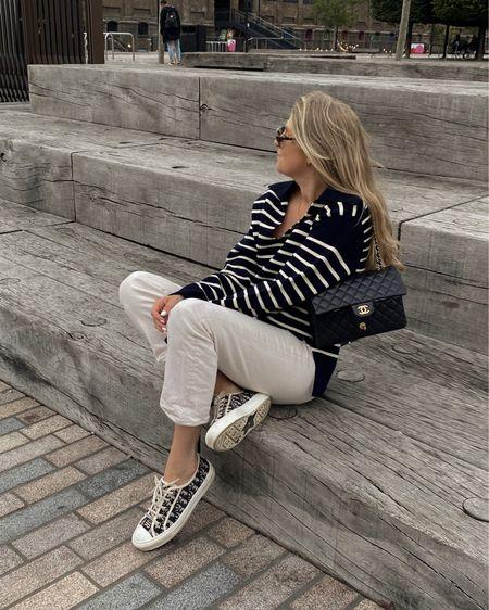 Arket striped jumper , navy stripe jumper, cream jeans, straight leg jeans , & other stories jeans , dior trainers, neutral outfit, wardrobe staples, capsule wardrobe @liketoknow.it http://liketk.it/3lWKO #liketkit #LTKeurope #LTKstyletip #LTKunder100