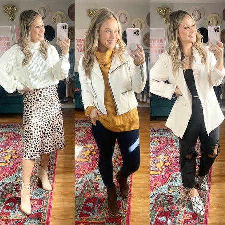 Amazon finds!! This chunky sweater, leopard print skirt, Chelsea boots and oversized blazer are all amazon fashion finds, they make the perfect fall outfits!   #LTKshoecrush #LTKworkwear #LTKunder50