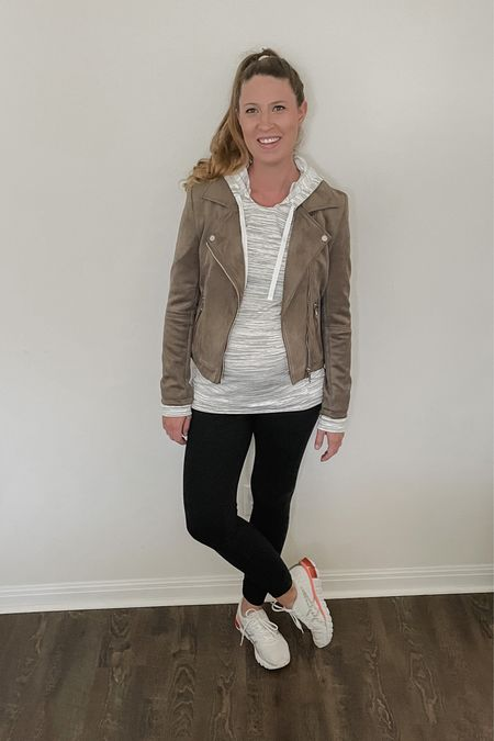 Add a moto jacket to your athleisure look for extra warmth and style 💁🏼♀️  #LTKunder100 #LTKbump #LTKstyletip
