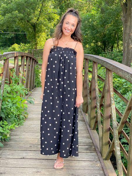 Polka dot maxi dress, h&m finds Wearing xs and under $25   #LTKunder50 #LTKstyletip #LTKsalealert