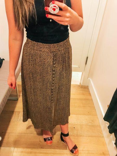 Animal print midi skirt, beautiful button and slit detail. Wearing tts xs   #LTKunder100 #LTKsalealert #LTKworkwear