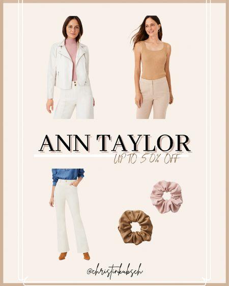 Ann Taylor sale - up to 50% off  Leather jacket Bodysuit Neutral Scrunchies    #LTKsalealert #LTKunder100 #LTKbeauty