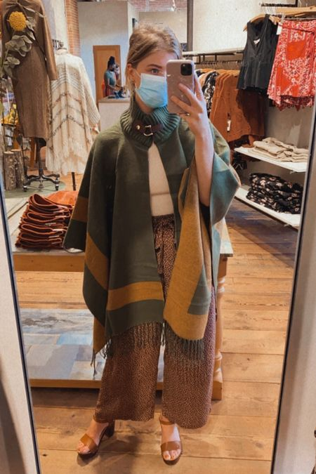 the most incredible fall cape - rich olive and mustard with funnel neck. so chic for fall travels, football tailgates and work   #LTKSeasonal #LTKstyletip #LTKtravel