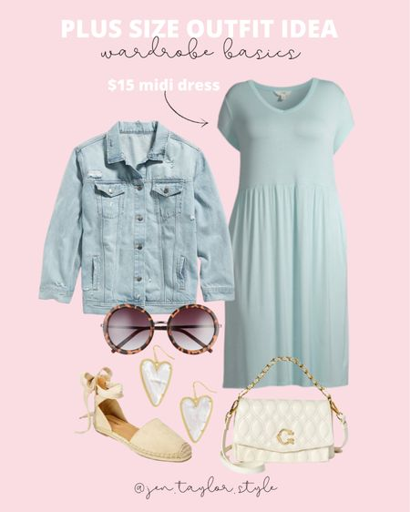 Plus size spring outfit idea! Add a distressed denim jacket to a plus size midi dress and espadrilles. Easy peasy! These new designer inspired quilted purses are so nice and look so expensive!   #LTKstyletip #LTKunder50 #LTKcurves