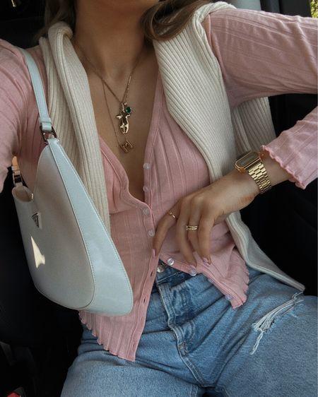 Revolve pink top, button up top, pink cardigan , Prada bag, white bag, gold jewellery @liketoknow.it #liketkit http://liketk.it/3iLBx #LTKeurope #LTKstyletip #LTKunder50