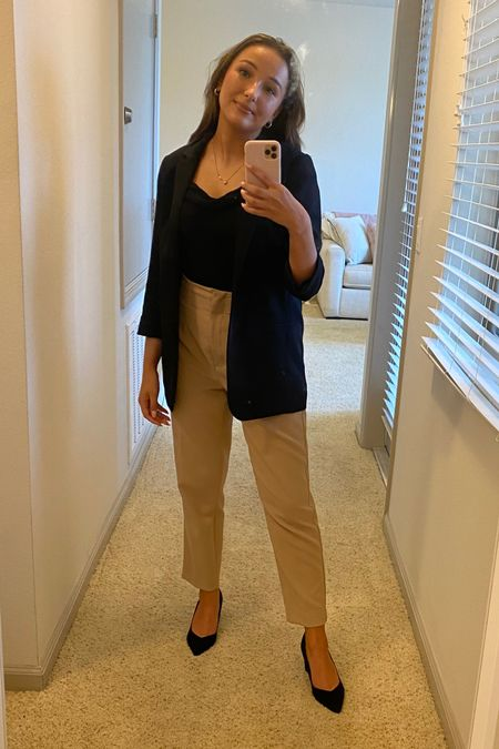#liketkit  #LTKunder100 #LTKworkwear #LTKfit This neutral workwear outfit is so pretty. black blazer and pointy pumps are exact. Pants are Zara. http://liketk.it/3juse @liketoknow.it