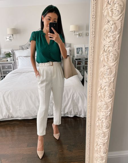 Business casual // back to school teacher outfit (swap in flat shoes) - jcrew factory blouse xxs petite, express white pants old, favorite Ann Taylor heels 5 (available in several colors).   #LTKworkwear #LTKstyletip #LTKbacktoschool