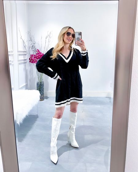 This long sleeve sweater dress is one of my most worn mini sweater dresses. I wear it with leggings for colder days or knee high boots and bare legs for warmer days & it's under $100. It kind of gives me cricket or collegiate vibes.  #LTKunder100 #LTKSeasonal #LTKshoecrush