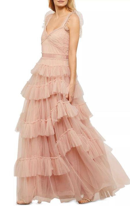 Love this blush ruffled maxi for a formal wedding guest option! 🥂✨  #LTKsalealert #LTKwedding #LTKstyletip