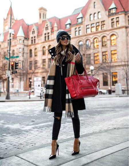 Parka coat outfit  Burberry scarf Topshop jeans Celine red luggage tote   #LTKSeasonal #LTKstyletip #LTKunder100