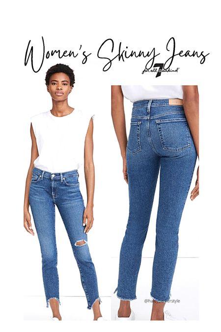 Women's skinny jeans 7 for all mankind denim Ankle skinny jeans distressed Designer jeans  #LTKworkwear #LTKtravel #LTKstyletip