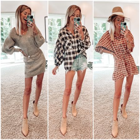 Apricot lane boutique try on haul CODE: JENNA to save!!  Fall outfits  Plaid shirt oversized Sweater dress and suede ankle boots  Checkered romper for fall   #LTKSeasonal #LTKstyletip