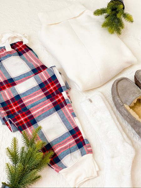 Cozy loungewear - plaid flannel pajama pants ,  oversized white batwing sweater, and cozy socks or slippers    All come in other colors and true to size         Pajama pants , flannel pjs , plaid pj pants , target style , Christmas pajamas , amazon fashion , Nordstrom style , ugg slippers , ugg socks #ltkunder100 #ltkshoecrush #ltkseasonal     #LTKunder50 #LTKHoliday #LTKGiftGuide