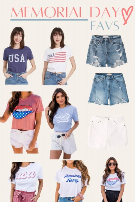 Memorial Day outfits, denim shorts, USA graphic tees http://liketk.it/3fD9a #liketkit @liketoknow.it
