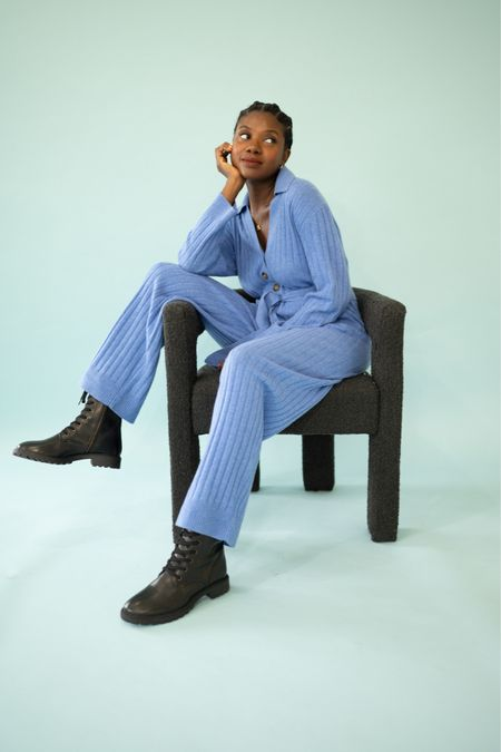 Cashmere tie waist jumpsuit in blue paired with lace up combat boots.   #LTKstyletip #LTKGiftGuide #LTKHoliday