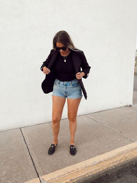Jean shorts  Denim shorts  Mules  Sunglasses  Amazon  Levi's   #LTKunder50 #LTKstyletip #LTKcurves